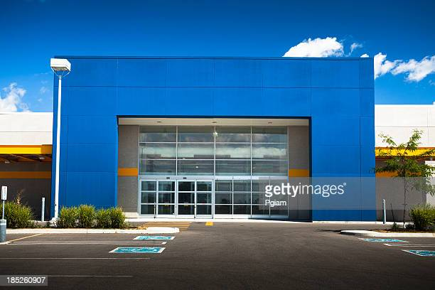 retail store with blank sign - megastore stock photos and pictures