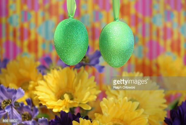 A retailer decorated his shop with Easter eggs and spring flowers to boost Easter trade on March 26 2009 in Frankfurt am Main Germany Two weeks...
