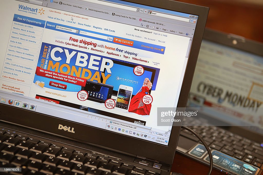 Retailers advertise Cyber Monday deals on their websites on November 26, 2012 in Chicago, Illinois. Americans are expected to spend $1.5 billion while shopping online today, up 20 percent from last year.