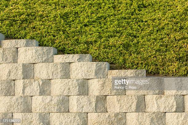 retaining wall and plantings above, background, pattern, diagonal - retaining wall stock pictures, royalty-free photos & images