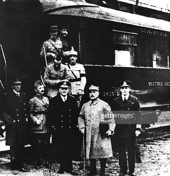 Wagon where the armistice was signed on November 11th of 1918 Marshal Foch ready to go with the master copy of the armistice convention France World...