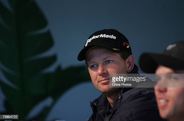 Retief Goosen of South Africa and Paul Casey of England attend a news conference prior to the BMW Asian Open at the Tomson Shanghai Pudong Golf Club...