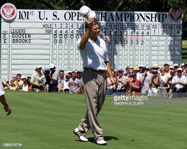 Retief Goosen of South Africa celebrates his a twostroke playoff victory of the 2001 US Open at Southern Hills Country Club in Tulsa Oklahoma 18 June...