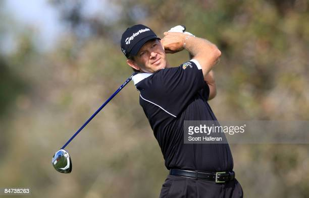 Retief Goosen of South Africa hits a shot during the second round of the Buick Invitational on the South Course at Torrey Pines Golf Course on...