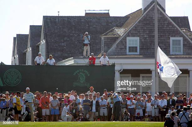 Retief Goosen of South Africa hits his first shot on the 10th hole during the 104th US Open at Shinnecock Hills Golf Club on June 20 2004 in...