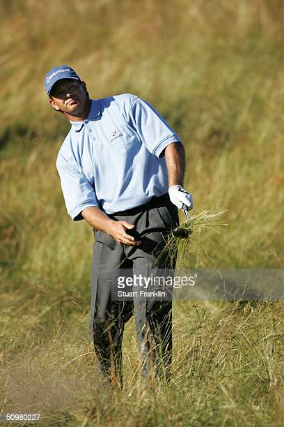 Retief Goosen of South Africa hits his second shot on the 13th hole during the final round of the 104th U.S. Open at Shinnecock Hills Golf Club on...