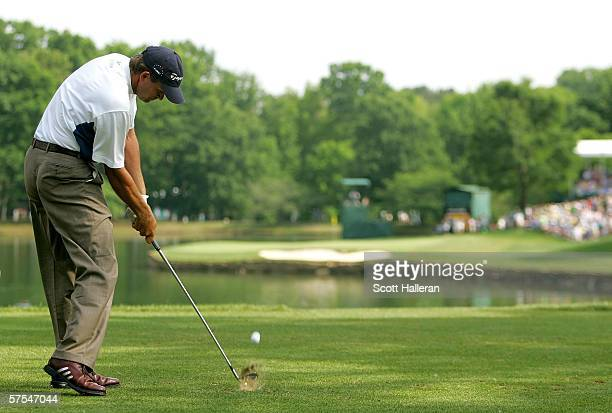Retief Goosen of South Africa hits his tee shot on the 17th hole during the third round of the Wachovia Championship at Quail Hollow Club May 6 2006...