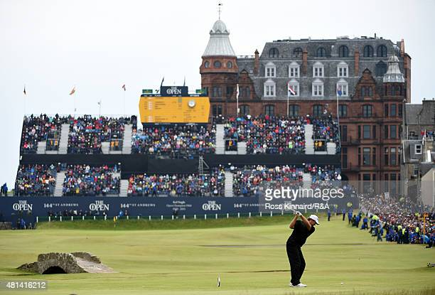 Retief Goosen of South Africa hits his tee shot on the 18th hole during the final round of the 144th Open Championship at The Old Course on July 20,...