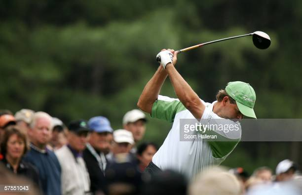 Retief Goosen of South Africa hits his tee shot on the fourth hole during the final round of the Wachovia Championship on May 7, 2006 at Quail Hollow...