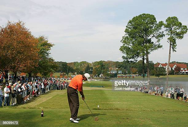 Retief Goosen of South Africa hits his tee shot on the sixth hole during the third round of the PGA Tour Championship at East Lake Golf Club on...