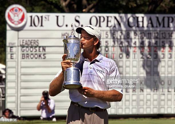 Retief Goosen of South Africa kisses his trophy after winning the 2001 US Open at Southern Hills Country Club in Tulsa Oklahoma 18 June 2001 Goosen...