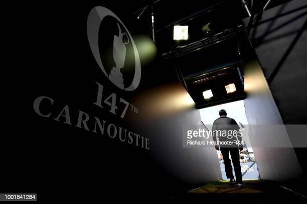 Retief Goosen of South Africa makes his way through the stand towards the first tee during round one of the 147th Open Championship at Carnoustie...