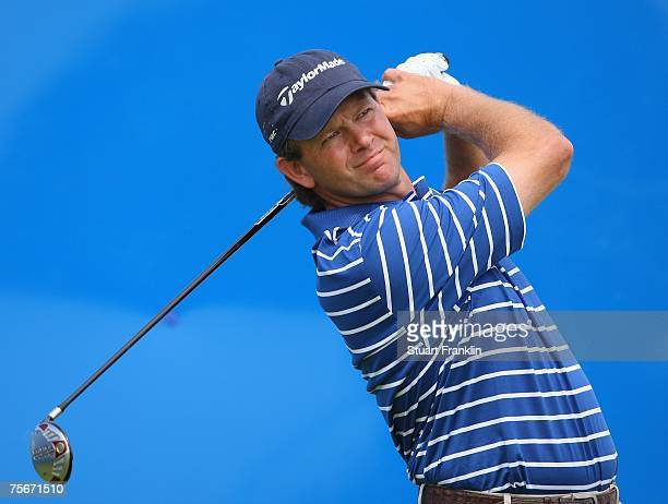 Retief Goosen of South Africa plays his tee shot on the nineth hole during the first round of The Deutsche Bank Players Championship of Europe at Gut...