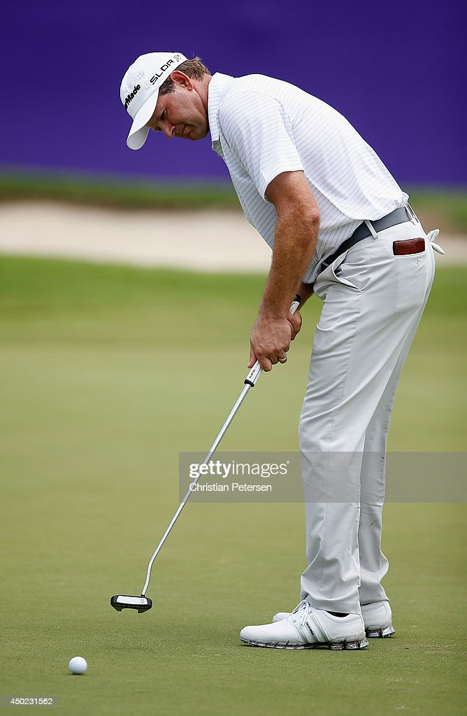 Retief Goosen of South Africa putts on the 18th green during the continuation of the second round of the FedEx St. Jude Classic at the TPC Southwind on June 7, 2014 in Memphis, Tennessee.