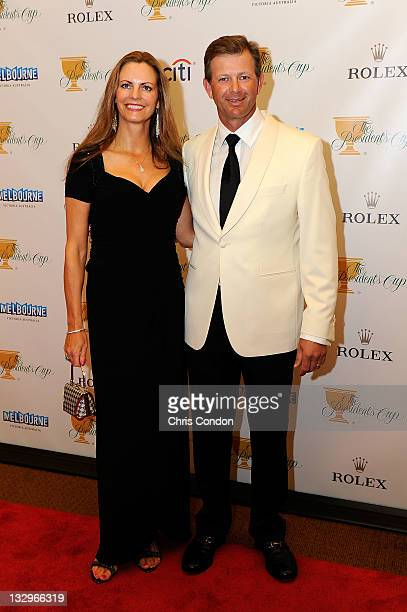 Retief Goosen of the International Team and his wife Tracy Goosen arrive on the red carpet at the Gala Celebration for the 2011 Presidents Cup at the...