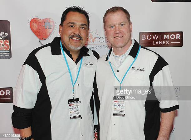 Retired 2time MLB AllStar Pitcher and founder of Eddie Guardado Foundation Eddie Guardado and Former NHL player Todd Marchant pose before the 4th...