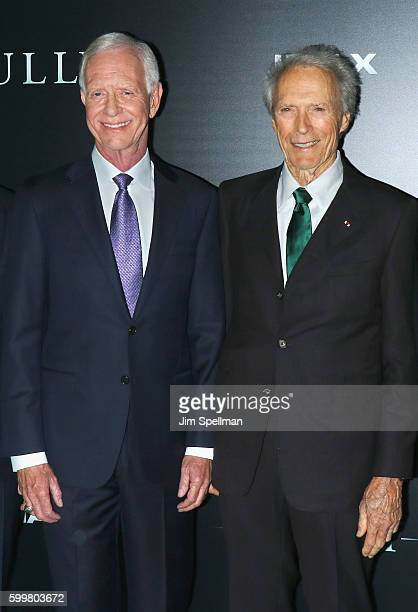 """Retired airline captain Chesley """"Sully"""" Sullenberger and director Clint Eastwood attend the """"Sully"""" New York premiere at Alice Tully Hall, Lincoln..."""