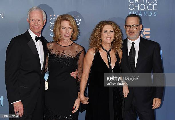 Retired airline pilot Chesley 'Sully' Sullenberger III wife Lorrie Sullenberger actress Rita Wilson and actor Tom Hanks arrive at The 22nd Annual...