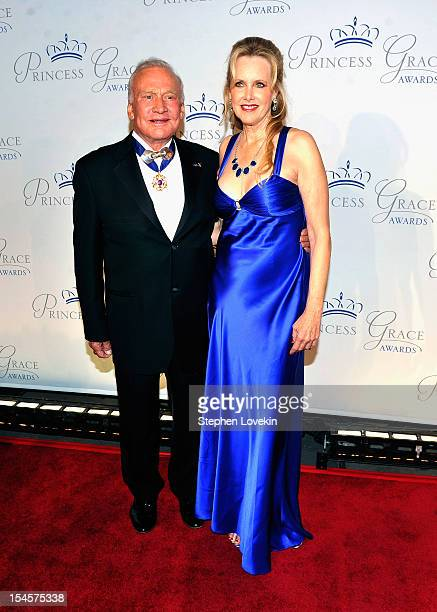 Retired American astronaut Buzz Aldrin attends the 30th anniversary Princess Grace awards gala at Cipriani 42nd Street on October 22 2012 in New York...