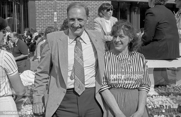 Retired American baseball player Ralph Branca of the Brooklyn Dodgers poses with an unidentified woman during the Brooklyn Bridge's 100th birthday...