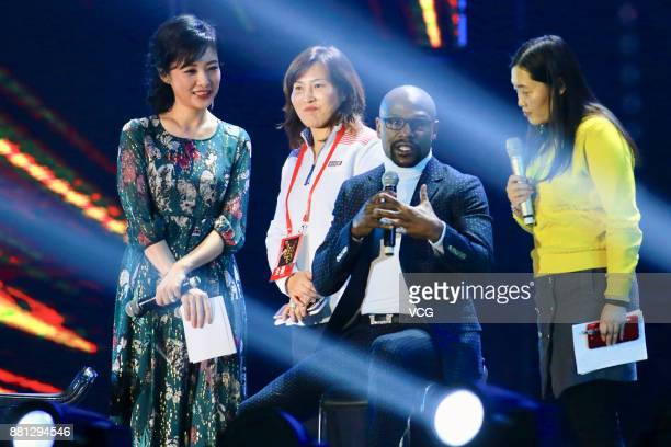 Retired American boxer Floyd Joy Mayweather Jr attends a fan meeting during his China tour on November 28 2017 in Beijing China