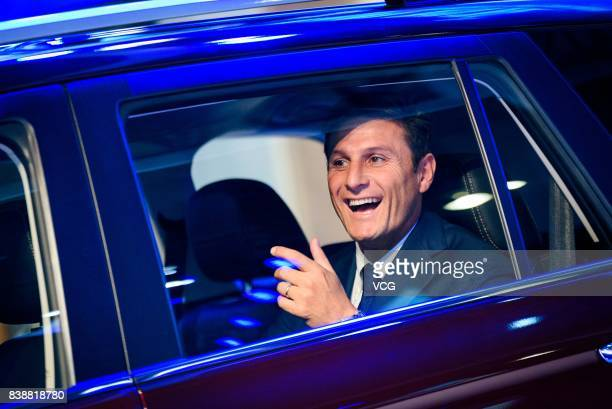 Retired Argentine football star Javier Zanetti promotes SWM Motors during 2017 Chengdu Motor Show on August 25, 2017 in Chengdu, Sichuan Province of...