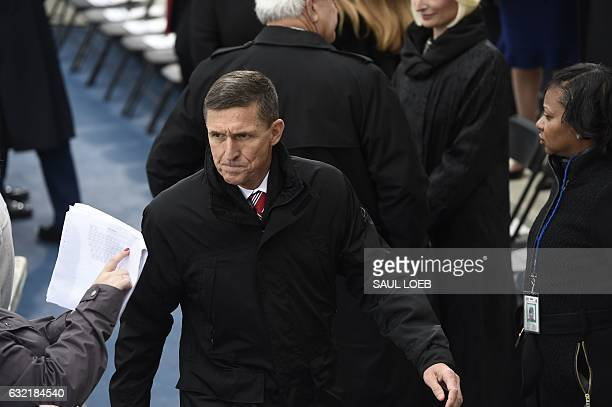 Retired Army Lt General Michael Flynn arrives for the Presidential Inauguration of Donald Trump at the US Capitol in Washington DC January 20 2017...