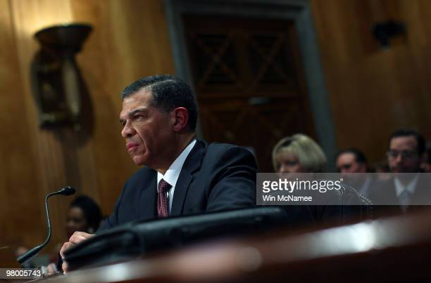 Retired Army Maj. Gen. Robert Harding testifies before the Senate Homeland Security and Governmental Affairs Committee March 24, 2010 in Washington,...