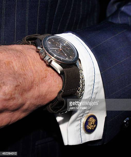 Retired astronaut Buzz Aldrin attends the 45th Anniversary Of The Moon Landing hosted by OMEGA and Vanity Fair at the SheatsGoldstein House on July...