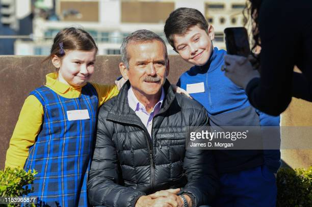 Retired astronaut Chris Hadfield poses for a photo after he speaks with school children during the Amplify festival at Museum of Contemporary Art on...
