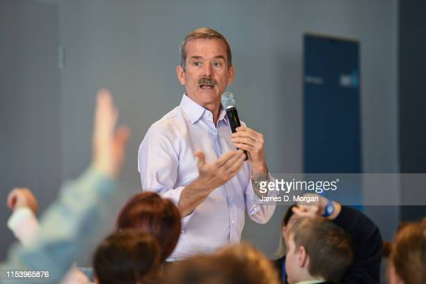 Retired astronaut Chris Hadfield speaks with school children during the Amplify festival at Museum of Contemporary Art on June 06 2019 in Sydney...