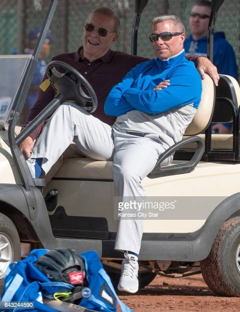 Retired Atlanta Braves executive Paul Snyder left visited Kansas City Royals spring training with general manager Dayton Moore on Monday Feb 20 2017...
