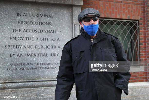 Retired Boston Police Captain Richard Evans leaves Moakley Federal Court after he was released in Boston on March 30, 2021.
