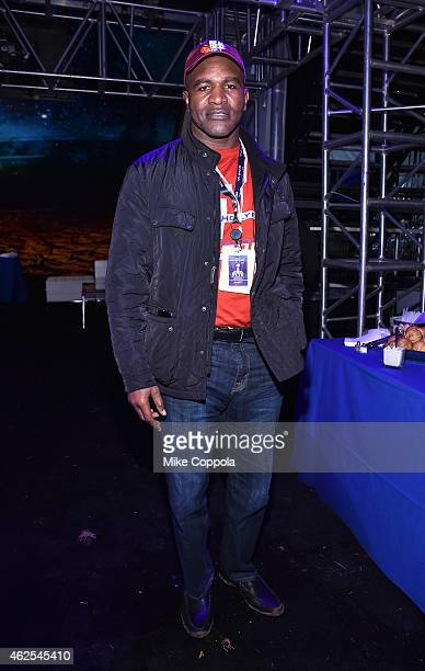 Retired boxer Evander Holyfield attends Day 3 of the DirecTV Super Fan Festival at Pendergast Family Farm on January 30 2015 in Glendale Arizona