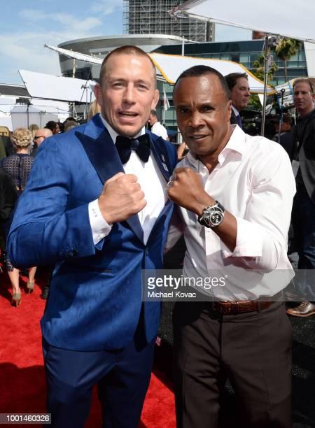 Retired boxer Sugar Ray Leonard and MMA fighter Georges St Pierre attend the 2018 ESPY Awards Red Carpet Show Live Celebrates With Moet Chandon at...