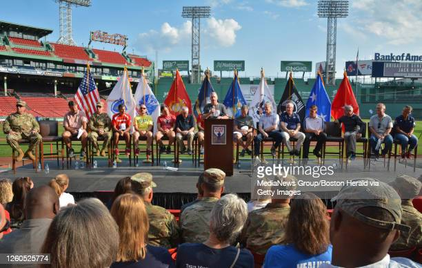 Retired Brigadier General and Home Base Executive Director Jack Hammond makes remarks before the 10th annual Run to Home Base fundraiser to support...