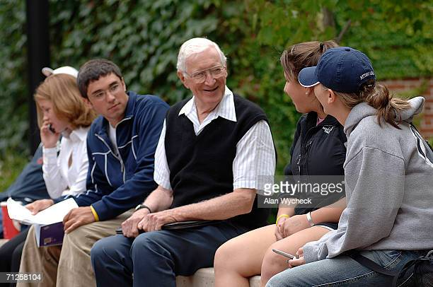 Retired businessman Lloyd Huck hangs out on the campus with fellow students before class on October 4 2005 in Penn State University Pennsylvania