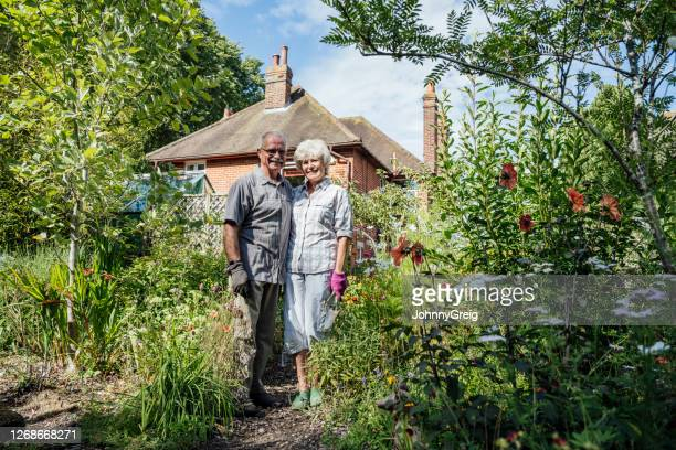 retired caucasian couple standing in english back garden - garden stock pictures, royalty-free photos & images