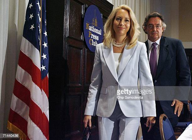 Retired CIA employee Valerie Plame Wilson and her husband, former diplomat Joe Wilson, leave a press conference where they announced a lawsuit...