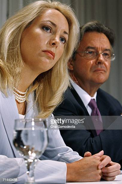 Retired CIA employee Valerie Plame Wilson and her husband, former diplomat Joe Wilson, hold a press conference where they announced a lawsuit against...