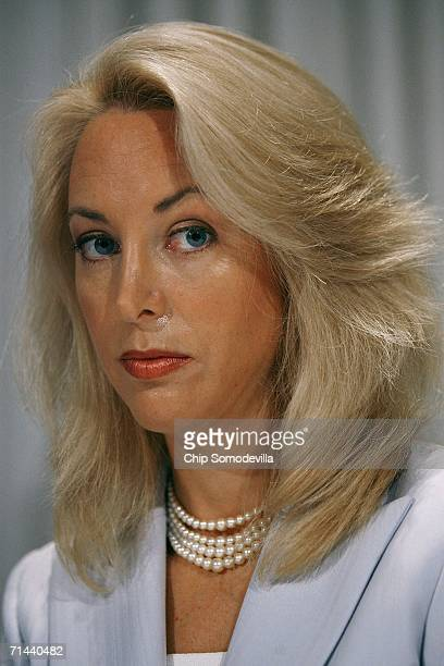 Retired CIA employee Valerie Plame Wilson holds a press conference where she and her husband Former diplomat Joe Wilson announced a lawsuit against...