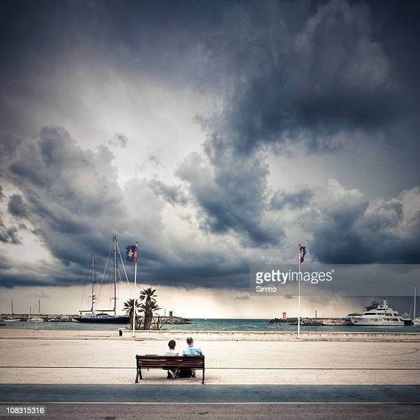 Retired couple facing the storm