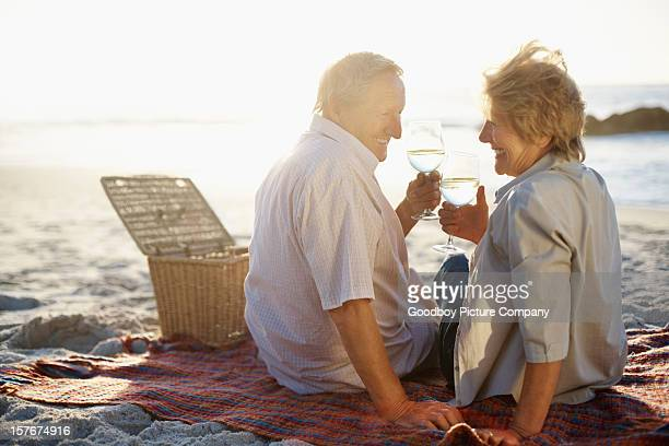 Retired couple on a beach picnic, toasting with wine