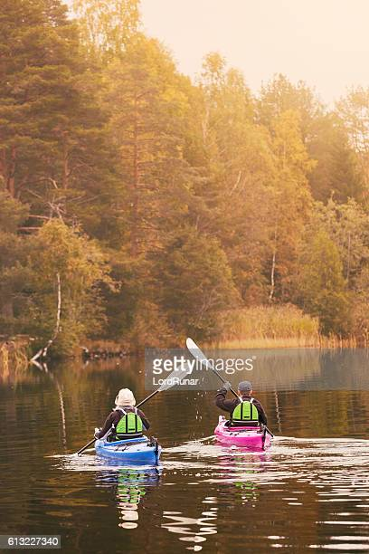 Retired couple out kayaking