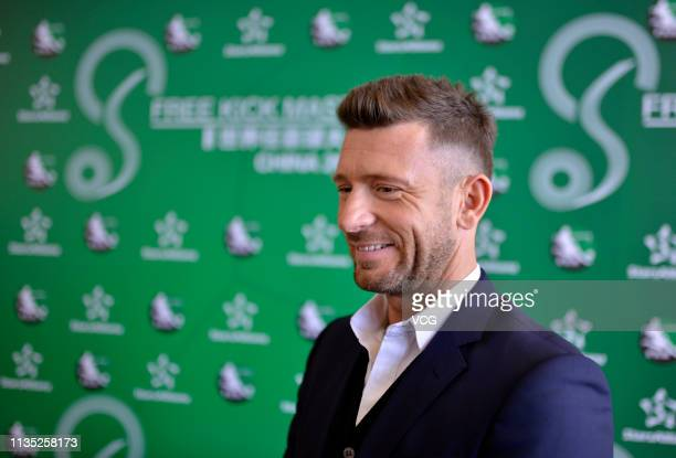 Retired Croatian football player Darko Matic attends the press conference of Free Kick Master China 2019 on March 11, 2019 in Hohhot, Inner Mongolia...