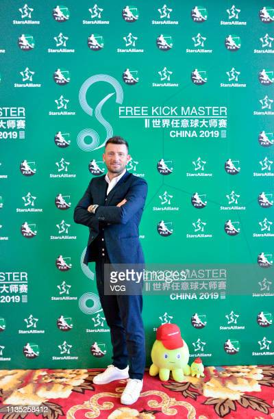 Retired Croatian football player Darko Matic attends the press conference of Free Kick Master China 2019 on March 11 2019 in Hohhot Inner Mongolia...