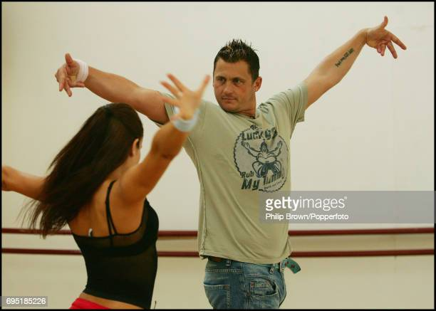 Retired England cricketer Darren Gough during a practice session for 'Strictly Come Dancing' at Danceworks with dance partner Lilia Kopylova in the...