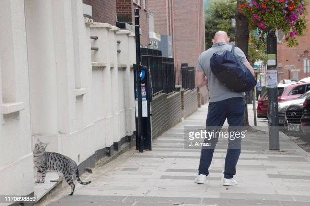 Retired English rugby union player Lawrence Dallaglio seen paying to park in Richmond on August 28 2019 in London England