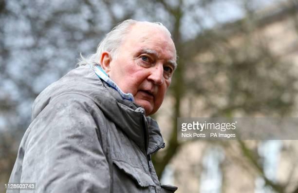 Retired footballer Alan Hudson arrives at the funeral service for Gordon Banks at Stoke Minster