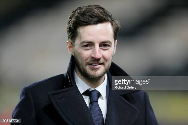 Retired footballer Ryan Mason pitchside before the Sky Bet Championship match between Hull City and Sheffield United at KCOM on February 23, 2018 in...